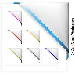 Set of white corner ribbons with colored thin border