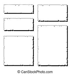 set of white ripped old paper frame with shadow isolated on white