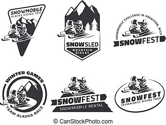 Set of winter snowmobile emblems, badges and icons. Snowmobile winter riding trip, snow sled and snowmobile design elements.