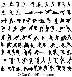 Set of winter sport silhouettes