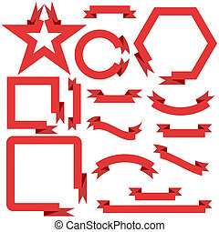 Set red ribbons and banners, vector illustration