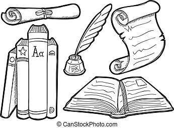 vintage book doodle