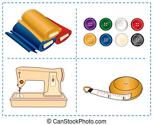 Sewing machine, tape measure, bolts of fabric, buttons in jewel colors isolated on white. For tailoring, quilting, crafts, needlework, do it yourself projects. EPS8 compatible.