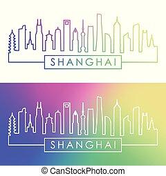 Shanghai city skyline. Colorful linear style.