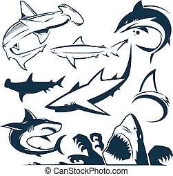Clip art collection of various types of shark