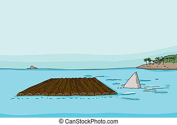 Shark fin behind empty wooden raft in ocean