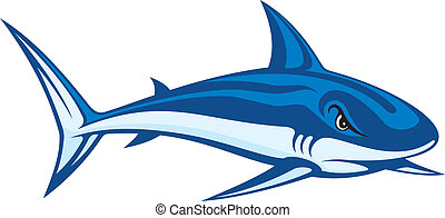 Stylized blue cartoon illustration of a shark.