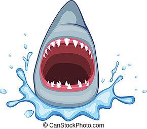 shark open its mouth vector
