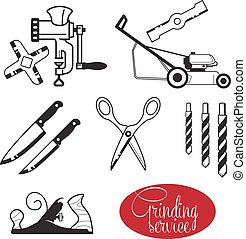 Grinding and sharpening. Sharp hand tools and gear