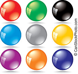 shiny 3d color bubbles with window reflection - vector illustration