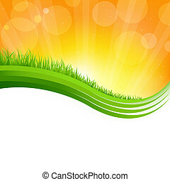 Shiny Background With Green Grass, Vector Illustration