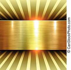 Shiny Gold Background 3d with metal texture, vector.
