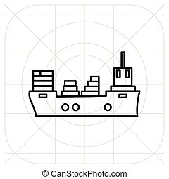 Ship icon flat. Black pictogram on grey background. Vector illustration symbol