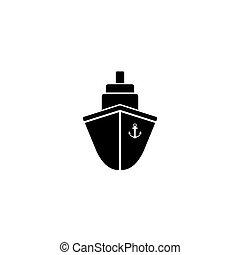 Ship icon flat. Black pictogram on grey background. Vector illustration