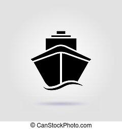 Ship icon flat. Black pictogram on grey background