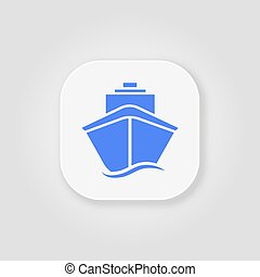 Ship icon flat. Blue pictogram on grey background. Vector illustration symbol
