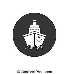 Ship icon flat. White pictogram on grey background. Vector illustration
