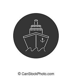 Ship line icon flat. Black pictogram grey background. Vector illustration symbol