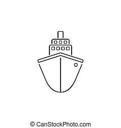 Ship line icon flat. Black pictogram on grey background. Vector illustration