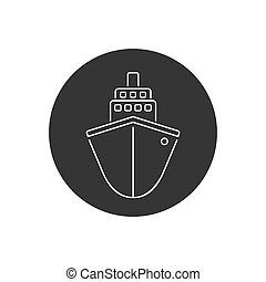 Ship line icon flat. Black pictogram on grey background. Vector illustration symbol