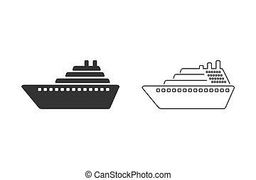Ship line icon set vector. Cruise ship symbol icon illustration