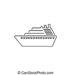 Ship line icon vector. Cruise ship symbol icon