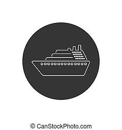 Ship line icon vector. Cruise ship symbol icon illustration