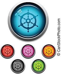 Ship wheel button icon