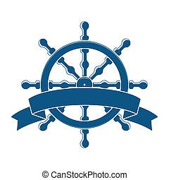 Ship Wheel With Banner. Nautical Emblem. Vector