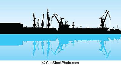 Cranes working at the port in Veracruz, Mexico.