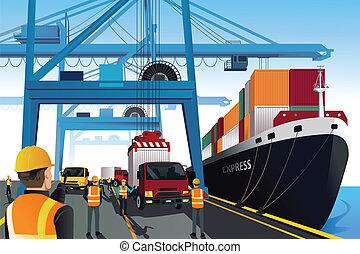 A vector illustration of shipping port scene