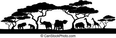 Silhouette African Safari Animal Landscape Scene