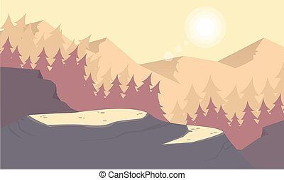 Silhouette of mountain at morning