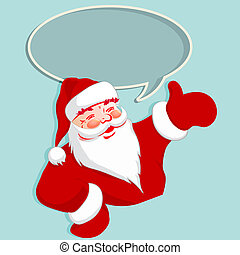Silhouette of Santa Claus with oval frame.