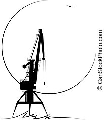 Silhouette of the stylized port crane in black and white colors