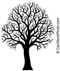 Silhouette of tree without leaf 2 - vector illustration.