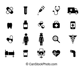 silhouettes medical icons, health care icons, symbols, object