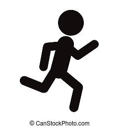 silhouettes people run