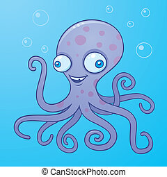 Vector cartoon illustration of a happy octopus in the water with bubbles.