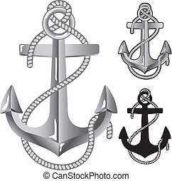 Silver anchor. Symbol of sailors in vector format.