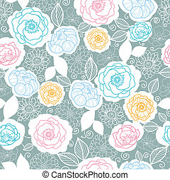 Vector silver and colors florals seamless pattern background