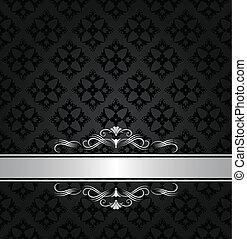 Silver banner on black wallpaper