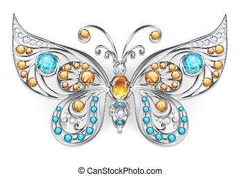 Silver butterfly with amber