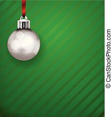 Silver Christmas Holiday Ornament on a Green Pattern Background Illustration