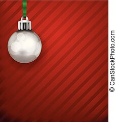 Silver Christmas Holiday Ornament on a Red Pattern Background Illustration