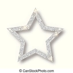 Silver Christmas star isolated on white background.