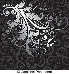 Silver flowers on seamless pattern