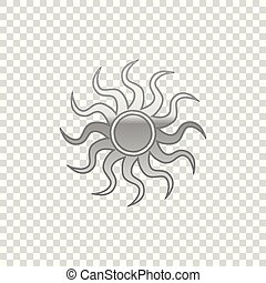 Silver Sun isolated object on transparent background. Flat design. Vector Illustration