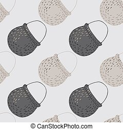 Simple abstract seamless kitchen pattern with grey colored pots ornament. Boiler backdrop.