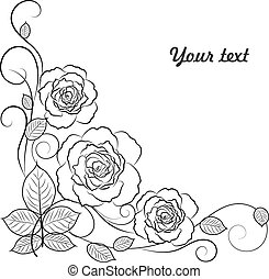 Simple floral background in black and white with place for your text.